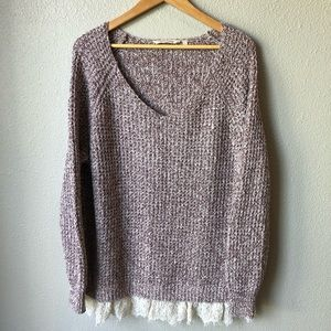 Soft Surroundings Sweater With Lace Hem